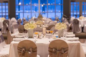 Wedding reception tables set at Shadowland Ballroom